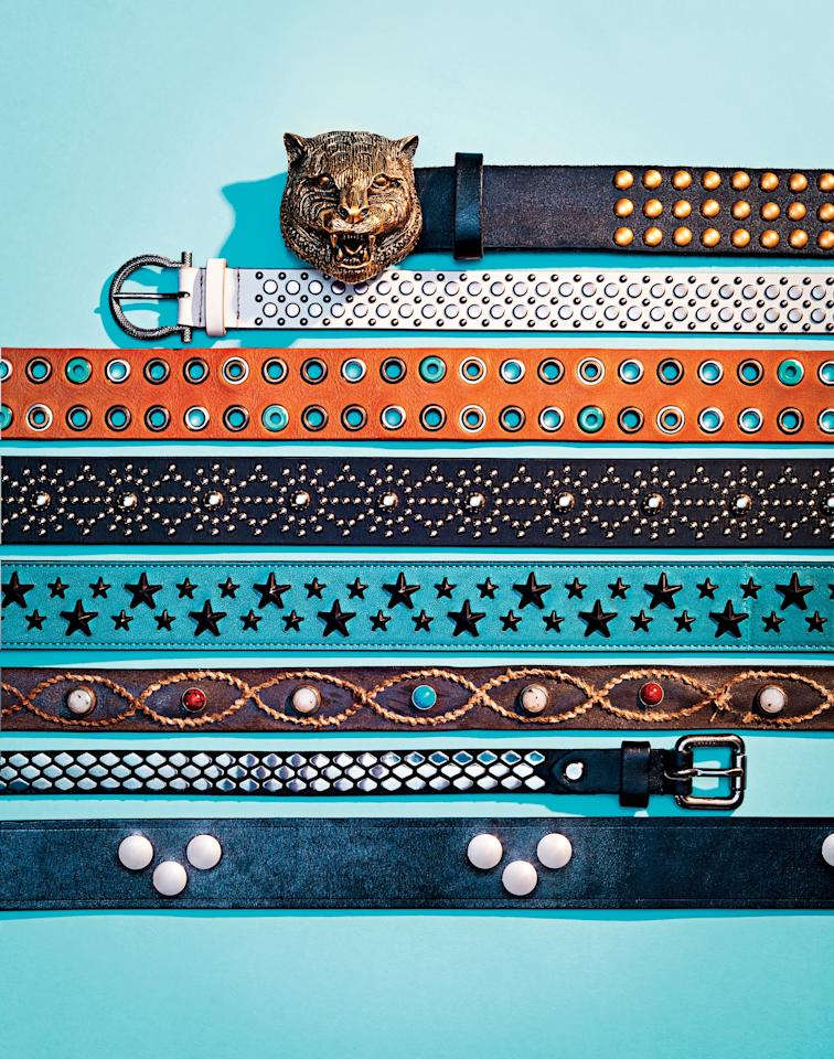 <p>Whether you've got a grand or just two Benjamins to drop on a studded belt right now, there's a version of the must-have accessory at every price.</p><p><em>(Top Left) Gucci $1,390 / Salvatore Ferragamo $640 / Diesel $130 / Dsquared2 $400 / Jimmy Choo $595 / Eleventy $395 / J.Lindeberg $125 / Tom Ford $890</em></p>
