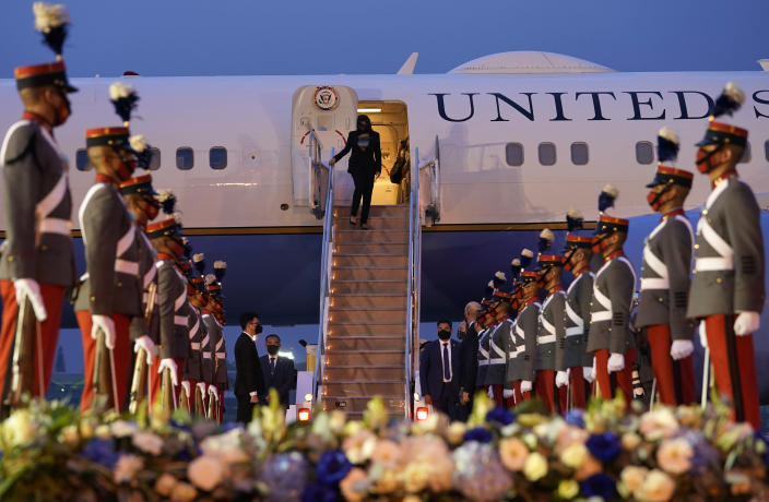 Vice President Kamala Harris is greeted as she exits Air Force Two on arrival in Guatemala City, Sunday, June 6, 2021, at Guatemalan Air Force Central Command. (AP Photo/Jacquelyn Martin)