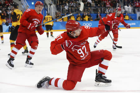 Olympic Athlete from Russia Nikita Gusev reacts after scoring a goal. REUTERS/Kim Kyung-Hoon