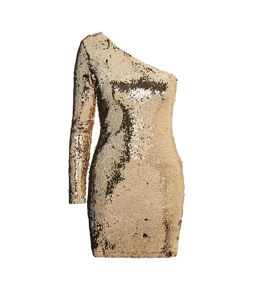 "<p>One-Shoulder Sequin Mini Bodycon Dress, $75, <a rel=""nofollow"" href=""http://us.topshop.com/en/tsus/product/clothing-70483/dresses-70497/one-shoulder-sequin-mini-bodycon-dress-7076117?bi=201&ps=20"">topshop.com</a> </p>"