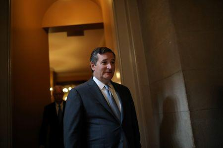 FILE PHOTO: U.S. Senator Ted Cruz (R-TX) leaves a meeting of the Senate Republican caucus for the unveiling of Senate Republicans' revamped proposal to replace Obamacare health care legislation at the U.S. Capitol in Washington, U.S. July 13, 2017. REUTERS/Carlos Barria