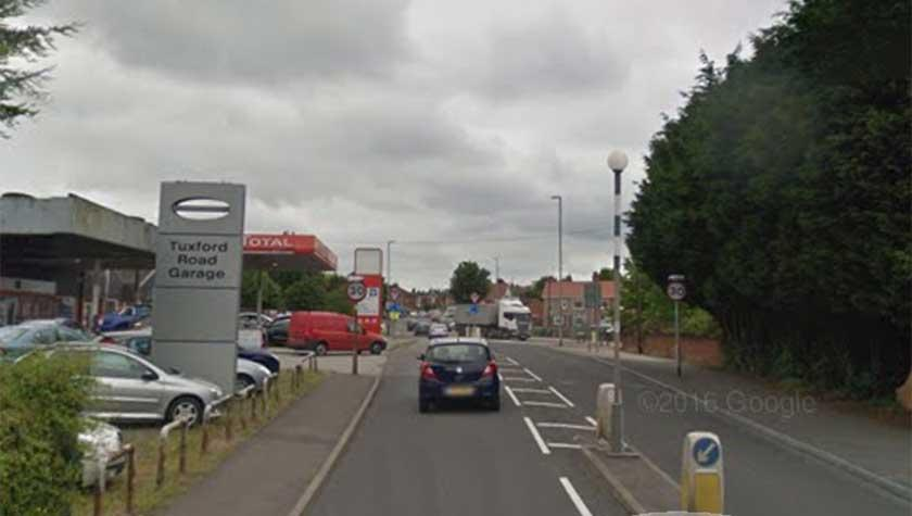 The little girl was seen on Tuxford Road in Ollerton. (Google)