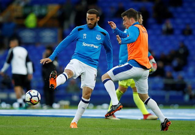 "Soccer Football - Premier League - Everton v Newcastle United - Goodison Park, Liverpool, Britain - April 23, 2018 Everton's Cenk Tosun and Seamus Coleman during the warm up before the match REUTERS/Andrew Yates EDITORIAL USE ONLY. No use with unauthorized audio, video, data, fixture lists, club/league logos or ""live"" services. Online in-match use limited to 75 images, no video emulation. No use in betting, games or single club/league/player publications. Please contact your account representative for further details."