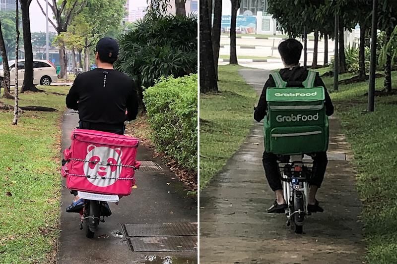 Delivery riders from Foodpanda (left) and GrabFood spotted travelling along footpaths while riding e-scooters along Jurong East Street 21 on Tuesday (5 November). (PHOTOS: Dhany Osman / Yahoo News Singapore)