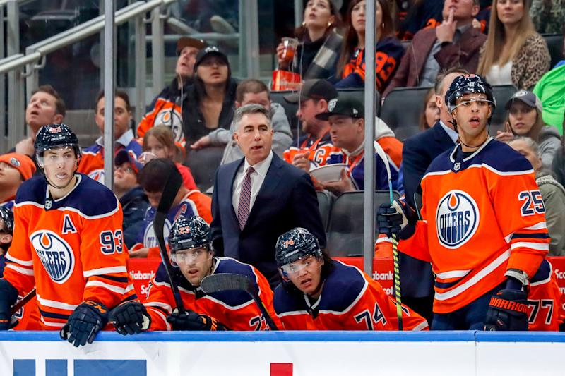 EDMONTON, AB - MARCH 11: Head Coach Dave Tippett of the Edmonton Oilers looks on from the bench during second period action against the Winnipeg Jets at Rogers Place on March 11, 2020 in Edmonton, Alberta, Canada. (Photo by Darcy Finley/NHLI via Getty Images)