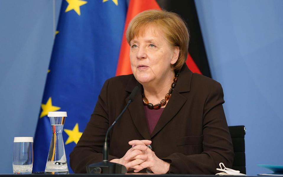 Mandatory Credit: Photo by Sean Gallup/POOL/EPA-EFE/Shutterstock (11774107b) German Chancellor Angela Merkel receives, virtually via video link, the 2021 report by the Council of Experts on Research and Innovation (EFI) in Berlin, Germany, 24 February 2021. The report is an advisory tool for the government in setting priorities for federally-supported research and related policies. For 2021 the report emphasizes, among other topics, the further digital adaptation of advanced training, gene editing and CRISP technologies and consequences on research and innovation due to the novel coronavirus pandemic. Merkel Receives 2021 Research And Innovation Report, Berlin, Germany - 24 Feb 2021 - Sean Gallup/POOL/EPA-EFE/Shutterstock