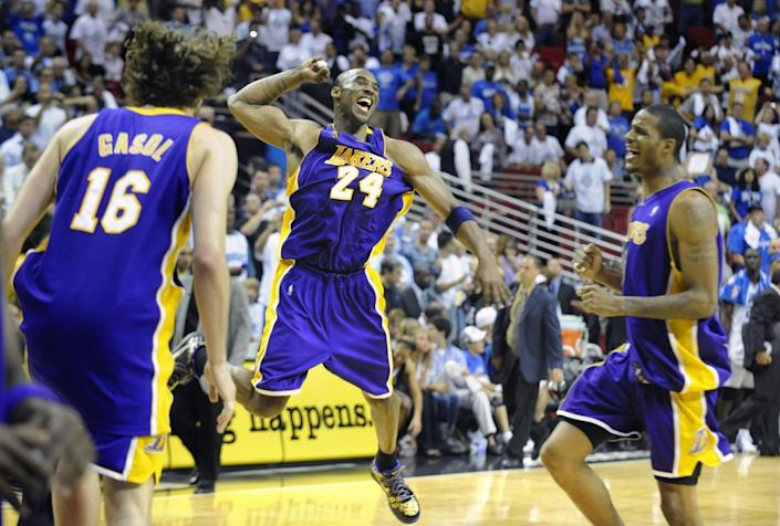 Kobe Bryant celebrates after the Lakers clinched the 2009 title in Orlando.
