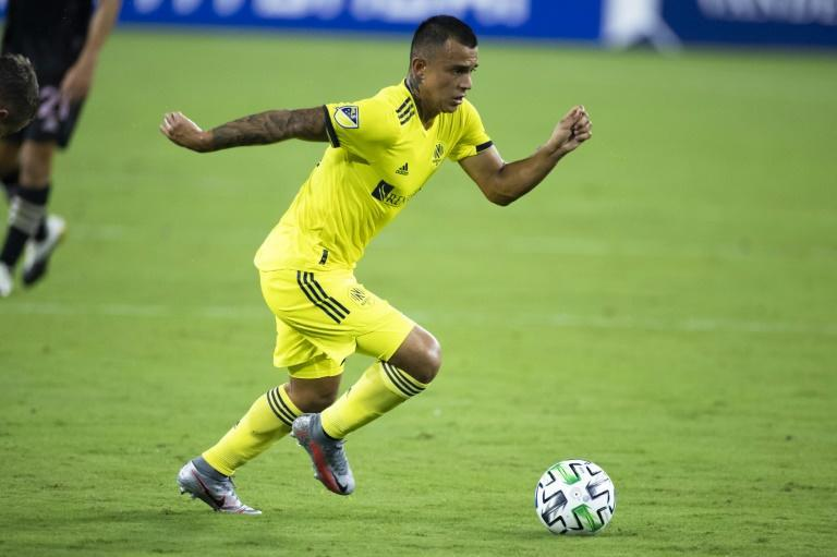 Nashville SC''s Randall Leal, seen here in an August game, scored the opener in his club's 3-0 victory over Inter Miami in the 2020 Major League Soccer playoffs