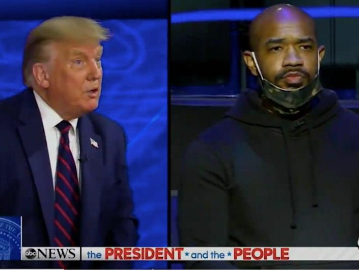 Donald Trump asks Pastor Carl Day's question on systemic racism (ABC News/Screenshot)