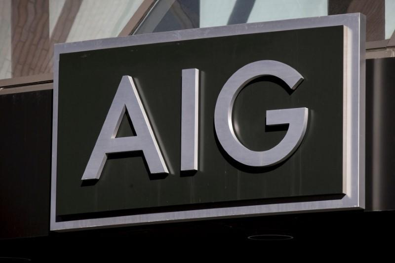 FILE PHOTO: The AIG logo is seen at its building in New York's financial district