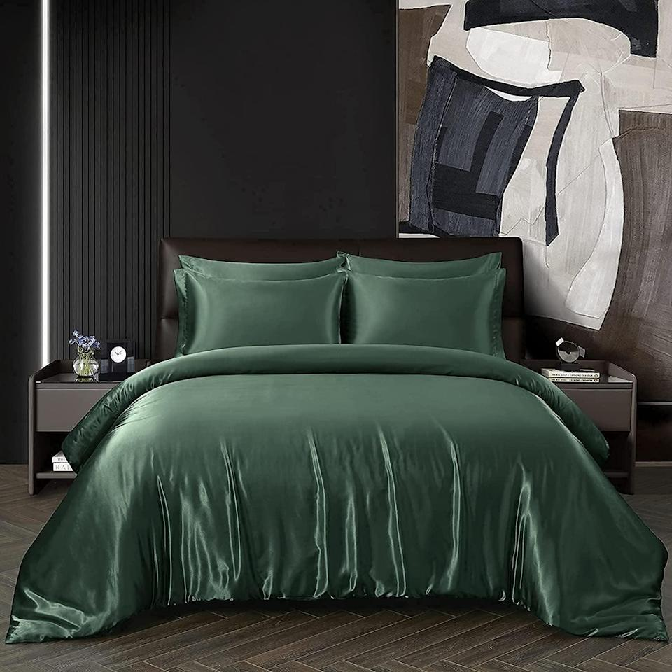 <p>Give your bedroom a luxurious makeover with this <span>Chvonttow 5-Piece Satin Duvet Cover Full/Queen Size </span> ($35). The set includes one duvet cover and four pillow cases. It comes in a variety of colors, so you can choose the perfect one for your vibe.</p>