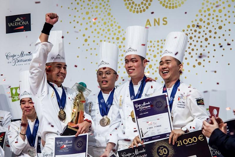 (From left) Chefs Patrick Siau, Loi Ming Ai, Tan Wei Loon and Otto Tay cheer after winning the World Pastry Cup in Lyon. — Picture courtesy of Diph Photography