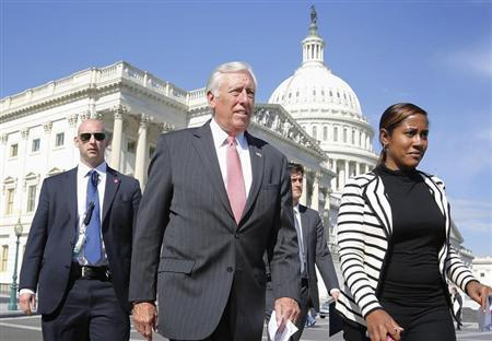 Hoyer arrives for a news conference to call for a vote in the House on immigration reform legislation, at the U.S. Capitol in Washington