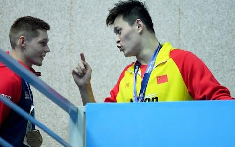 <span>The IOC are looking to avoid confrontations like that between Scott and Sun Yang</span> <span>Credit: Getty Images </span>