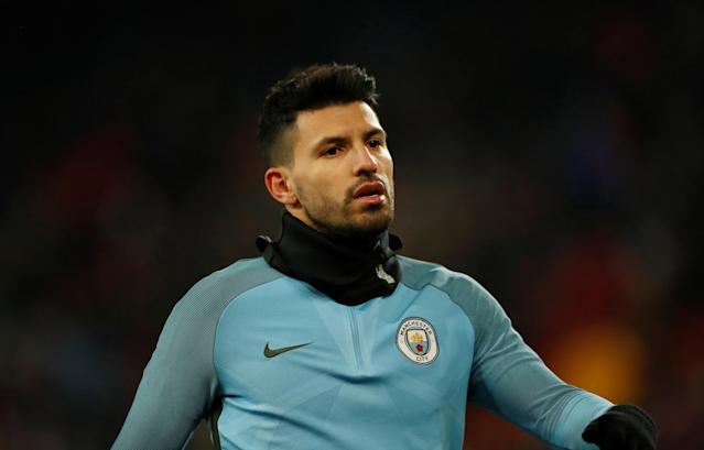 Soccer Football - Champions League - Basel vs Manchester City - St. Jakob-Park, Basel, Switzerland - February 13, 2018 Manchester City's Sergio Aguero during the warm up before the match Action Images via Reuters/Andrew Boyers