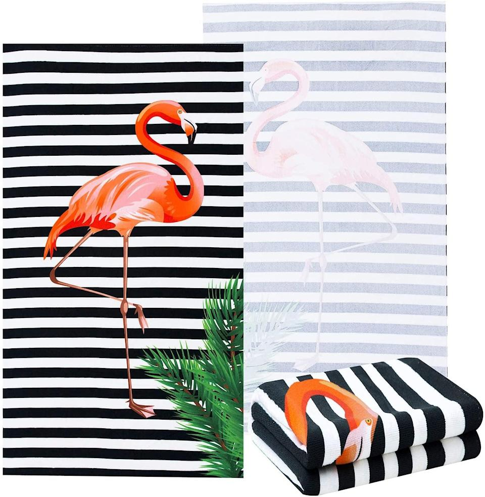 <p>The <span>NovForth Oversized Flamingo Beach Towel</span> ($18) is such an adorable find. You can't go wrong with flamingos for the summer!</p>