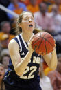 Notre Dame guard Madison Cable (22) shoots in the second half of an NCAA college basketball game against Tennessee Monday, Jan. 20, 2014, in Knoxville, Tenn. Notre Dame won 86-70. (AP Photo/Wade Payne)