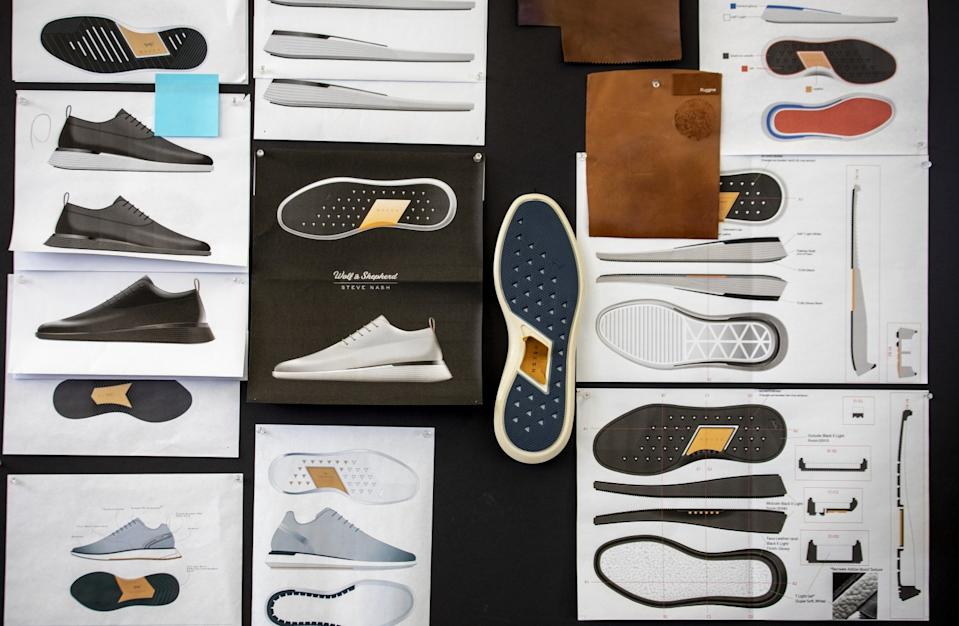 "A look at the design board for Wolf & Shepherd's Crossover Longwing shoe, which was developed in collaboration with former NBA player Steve Nash. Wolf & Shepherd uses sneaker technology in a dress shoe. <span class=""copyright"">(Ricardo DeAratanha / Los Angeles Times)</span>"