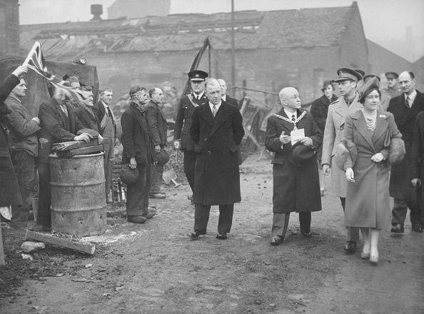 <p>The King and Queen stayed in London during the war, and could be frequently out in public surveying damage. Here, they visit Salford. </p>