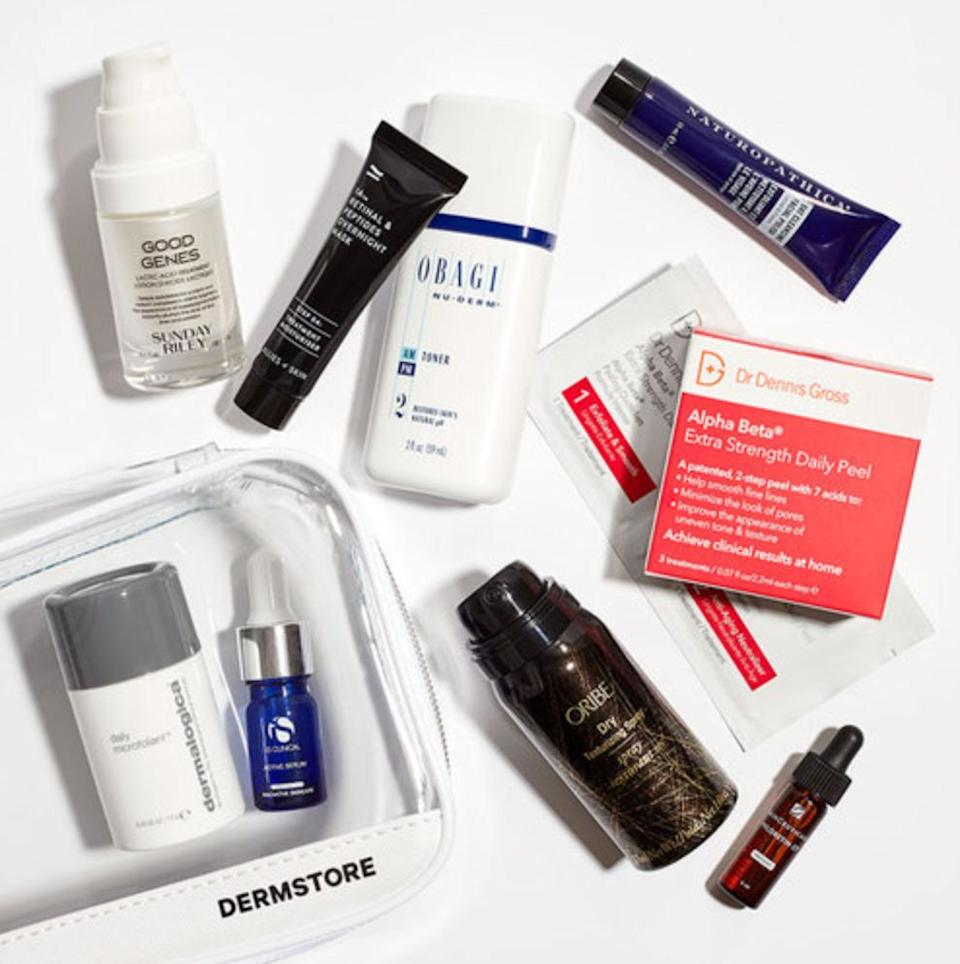 """Beauty lovers won't be able to resist this set, which includes bestsellers from brands like Sunday Riley,Oribe andSkinCeuticals. Plus, it comes with a clear cosmetic bag so that they'll know what to reach for in the morning and at night.<a href=""""https://fave.co/37OvqUN"""" target=""""_blank"""" rel=""""noopener noreferrer"""">Find it for $60 at Dermstore</a>."""