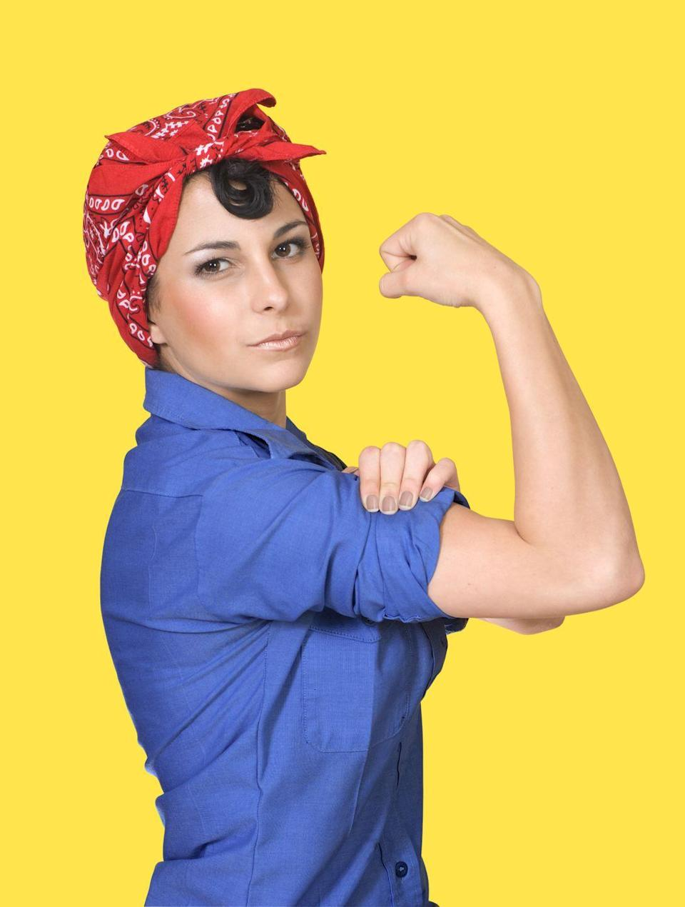 """<p>Your kids already look up to you as a strong female figure, but take it one step further for Halloween. Roll up your sleeves and perfect your best """"We can do it"""" pose. </p><p><a class=""""link rapid-noclick-resp"""" href=""""https://www.amazon.com/Amscan-Multi-Purpose-Bandana-Western-Headwear/dp/B009USLJBM/?tag=syn-yahoo-20&ascsubtag=%5Bartid%7C10050.g.28181767%5Bsrc%7Cyahoo-us"""" rel=""""nofollow noopener"""" target=""""_blank"""" data-ylk=""""slk:SHOP RED BANDANAS"""">SHOP RED BANDANAS</a></p>"""
