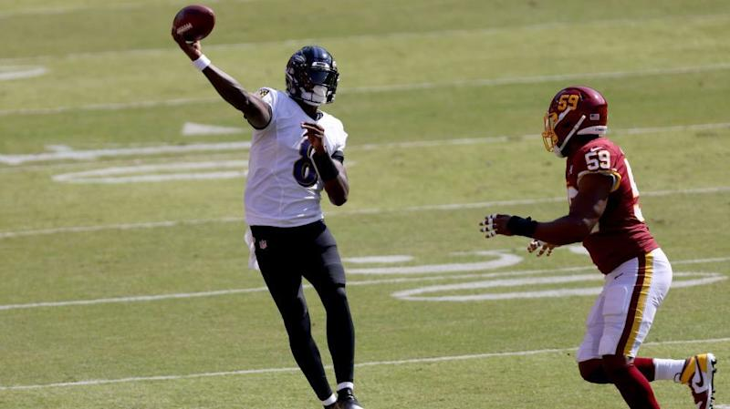 Washington cuts Ravens lead to 21-10 after Lamar Jackson's first INT on 2020