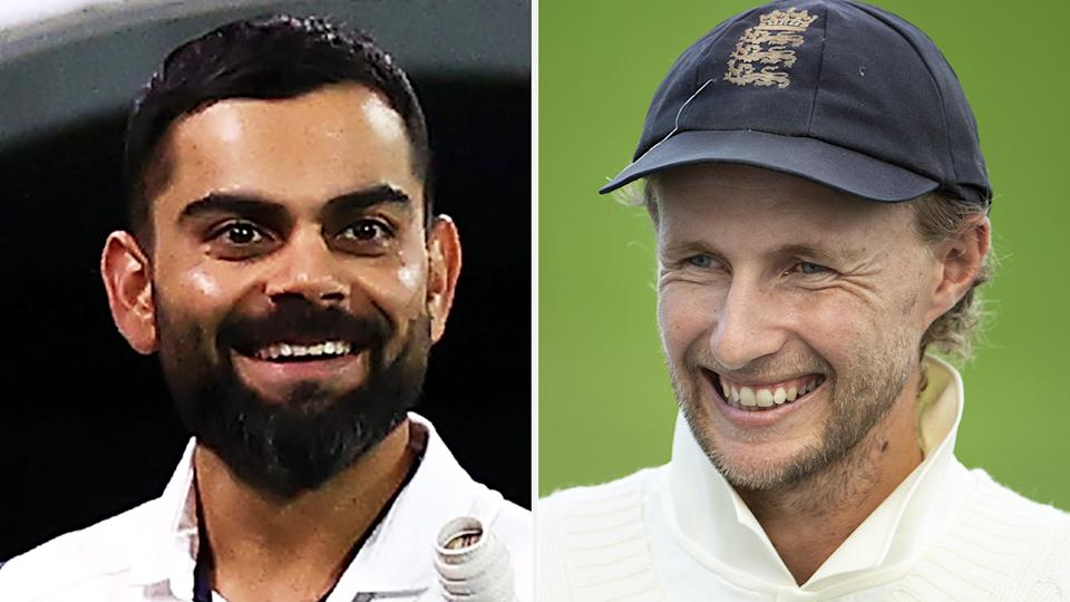 Virat Kohli helped Joe Root stretch out cramps after the England captain batted his way to a century in the first Test between the two nations. Pictures: Getty Images