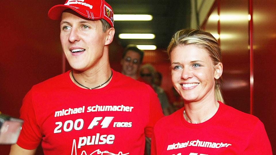 Michael and Corrina Schumacher, pictured here at the Spanish Grand Prix in 2004.