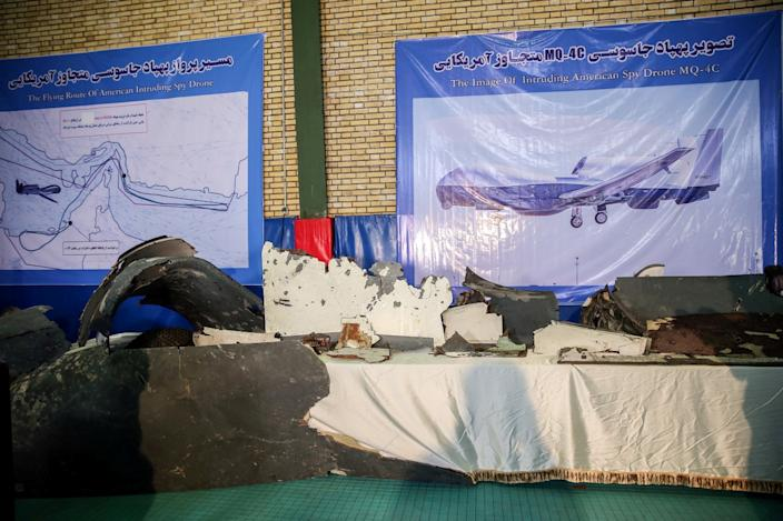 The purported wreckage of an American drone is displayed in Tehran, Iran, June 21, 2019. (Photo: Meghdad Madadi/Tasnim News Agency/Handout via Reuters)