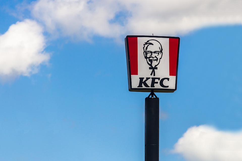 A KFC sign is pictured.