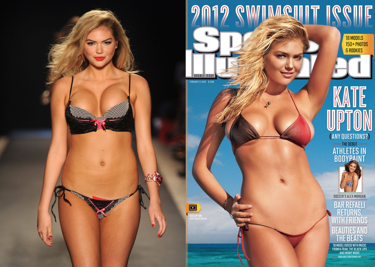 A Victorias Secret Model With and Without Photoshop