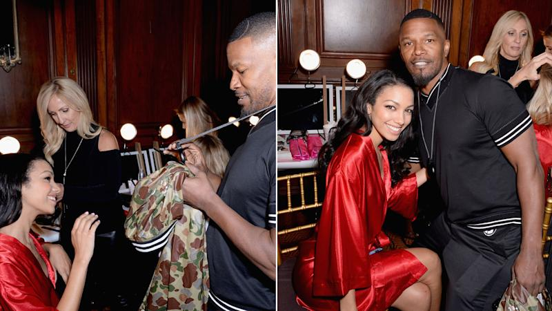 The actor hugged his 23-year-old daughter right before she hit the runway.