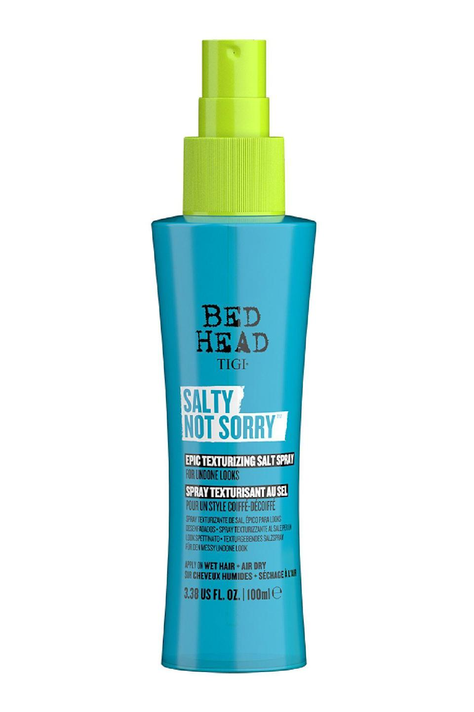 """<p><strong>Bed Head</strong></p><p>ulta.com</p><p><strong>$17.99</strong></p><p><a href=""""https://go.redirectingat.com?id=74968X1596630&url=https%3A%2F%2Fwww.ulta.com%2Fsalty-not-sorry-epic-texturizing-salt-spray%3FproductId%3Dpimprod2022519&sref=https%3A%2F%2Fwww.marieclaire.com%2Fbeauty%2Fnews%2Fg2902%2Fbest-beach-wave-salt-sprays%2F"""" rel=""""nofollow noopener"""" target=""""_blank"""" data-ylk=""""slk:SHOP IT"""" class=""""link rapid-noclick-resp"""">SHOP IT</a></p><p>If you are looking for a little bit of hold, a little gritty grip, and a lot of tousled matte texture (but no heavy residue), this brand new offering from Bed Head might be the answer to your hair prayers. Extra credit since sodium chloride is the second ingredient listed...<br><br></p>"""