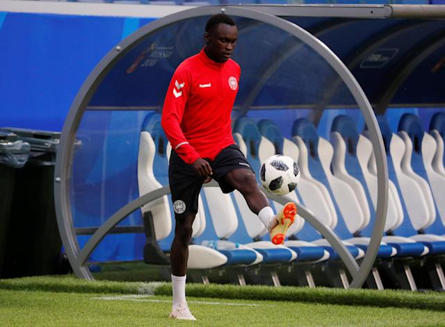 Soccer Football - World Cup - Denmark Training - Samara Arena, Samara, Russia - June 20, 2018 Denmark's Pione Sisto during training REUTERS/David Gray