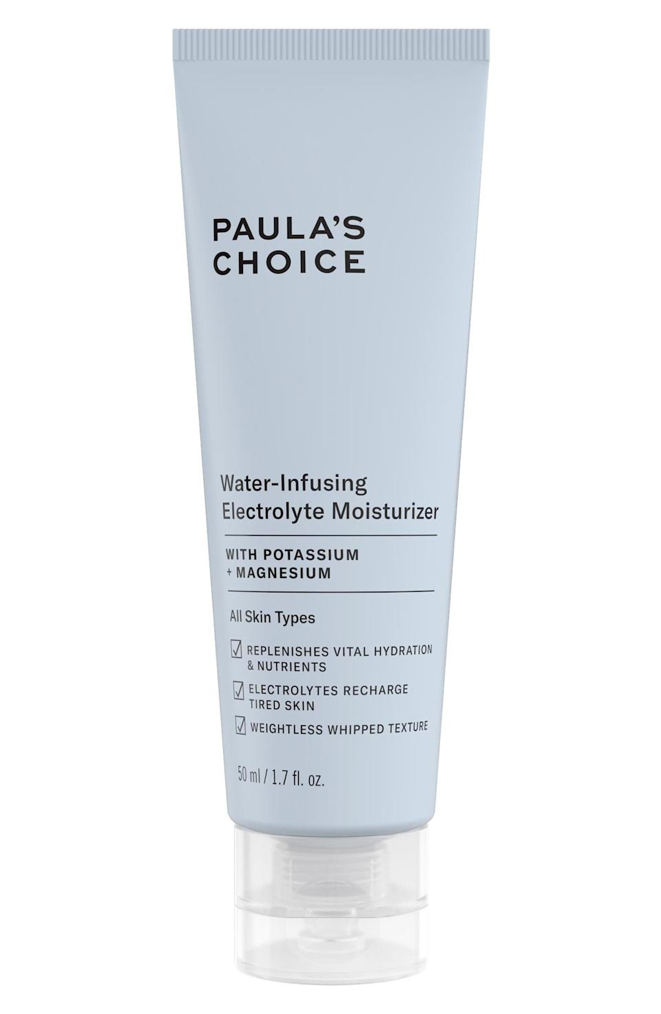 """<p>A personal favorite of several POPSUGAR editors (especially during the warmer months since it's supremely lightweight), the <span>Paula's Choice Water-Infusing Electrolyte Moisturizer</span> ($35) also has a few makeup artist fans. """"I love Paula's Choice skincare all around,"""" said makeup artist Quinn Murphy, who works with loads of celebrities including Lily Aldridge, Nathalie Emmanuel, Sophie Turner, Sofia Vergara, <a class=""""link rapid-noclick-resp"""" href=""""https://www.popsugar.co.uk/Alison-Brie"""" rel=""""nofollow noopener"""" target=""""_blank"""" data-ylk=""""slk:Alison Brie"""">Alison Brie</a>, and Gemma Chan, to name a few. """"Before applying your base, I suggest using the Water Infusing Electrolyte Moisturizer because it's not greasy, so it layers well under makeup. It's also safe for blemish-prone skin but still gives your skin a healthy and dewy finish.""""</p>"""