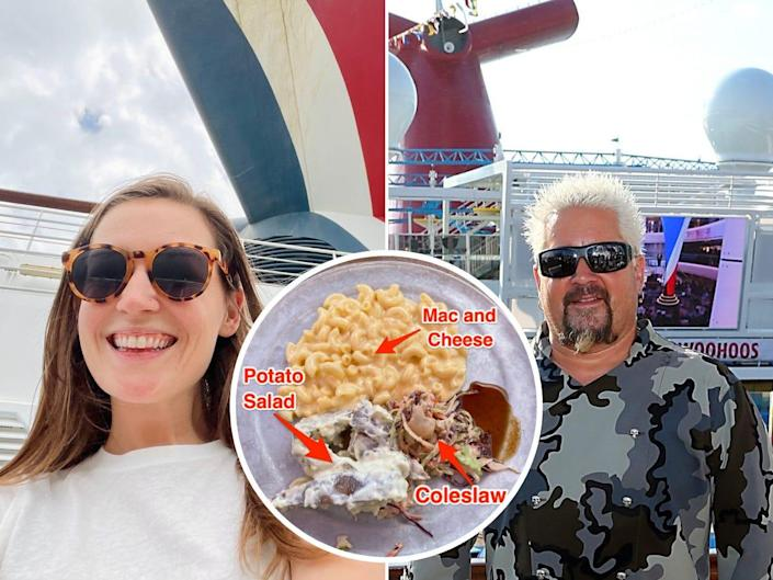 The author on the Carnival Vista, Guy Fieri on the Carnival Horizon cruise ship, and a labeled plate of the author's food.