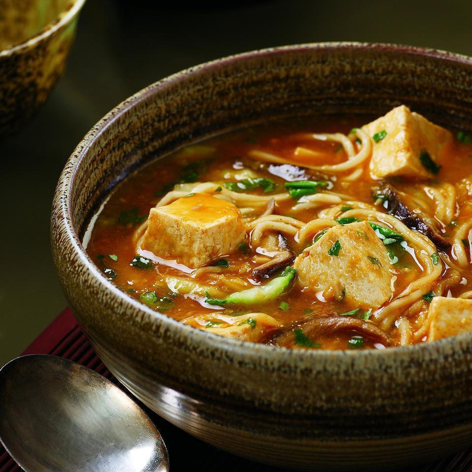 <p>Warm up a chilly evening with this light but satisfying one-pot meal. The tofu absorbs the flavors of this fragrant, spicy broth, making it anything but bland. Look for fresh Chinese-style noodles in the refrigerated case of your supermarket alongside wonton wrappers.</p>