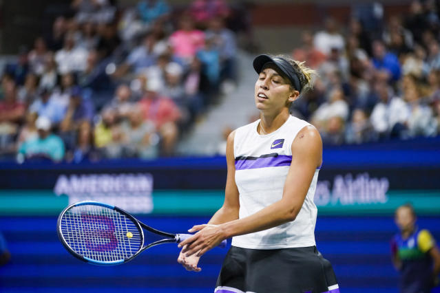 Madison Keys reacts after losing a point against Elina Svitolina, of Ukraine, during round four of the U.S. Open tennis championships Sunday, Sept. 1, 2019, in New York. (AP Photo/Eduardo Munoz Alvarez)