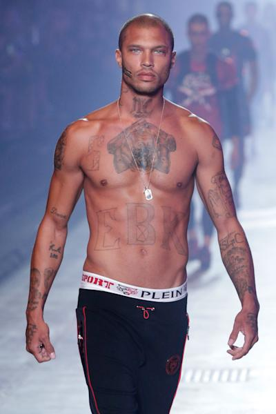 Model Jeremy Meeks, who went viral a few years ago after his handsome mugshot appeared on Facebook, took the Milan runways by storm this past weekend.