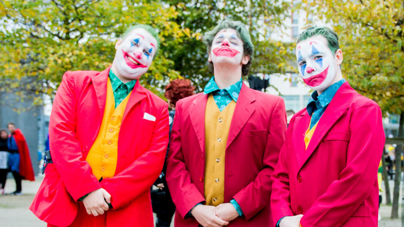 Cosplayers in character as the Joker at MCM London Comic Con 2019 on October 26, 2019. (Photo by Ollie Millington/Getty Images)
