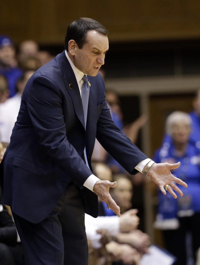 Duke coach Mike Krzyzewski argues with an official during the first half of an NCAA college basketball game against Maryland in Durham, N.C., Saturday, Feb. 15, 2014. Duke won 69-67. (AP Photo/Gerry Broome)