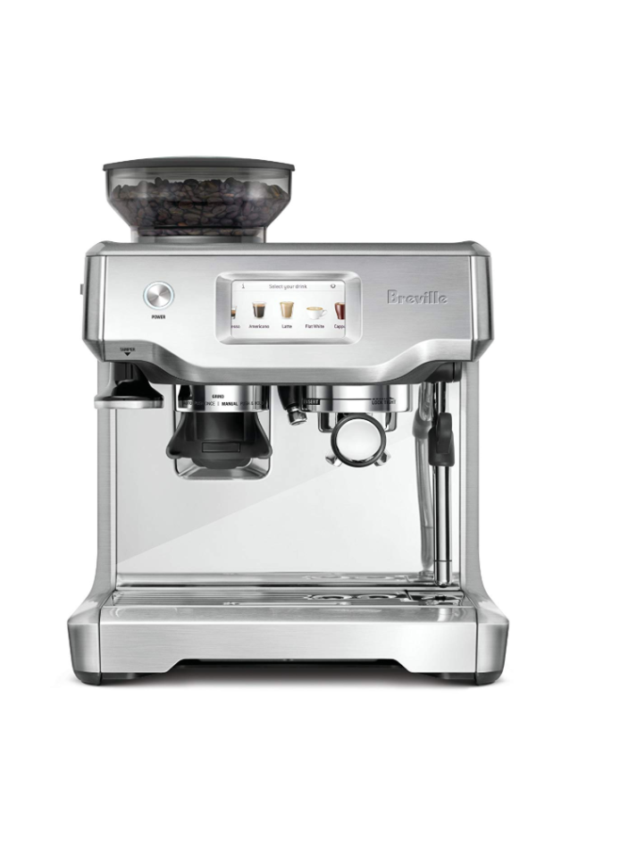 "<p><strong>Breville</strong></p><p>amazon.com</p><p><strong>$928.35</strong></p><p><a href=""http://www.amazon.com/dp/B078WMLXXG/?tag=syn-yahoo-20&ascsubtag=%5Bartid%7C10052.g.27424252%5Bsrc%7Cyahoo-us"" target=""_blank"">Shop Now</a></p><p>A high-end, cult favorite option that's perfect for beginners, the Breville Barista Pro features an intuitive touch-screen, automatic milk texturing, and options to customize a variety of drinks (americano, latte, cappuccino, flat white, and more). Everything is broken down into three steps—grind, brew, and milk—making it extremely simple to work. </p>"