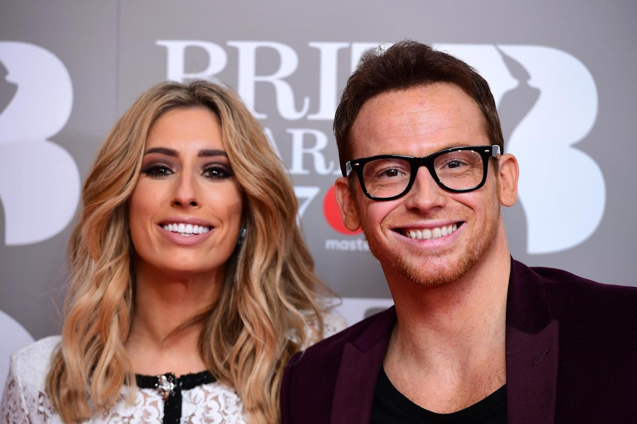 Stacey Solomon and Joe Swash attending the Brit Awards at the O2 Arena, London.