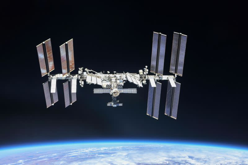 ISS photographed by Expedition 56 crew members from a Soyuz spacecraft after undocking