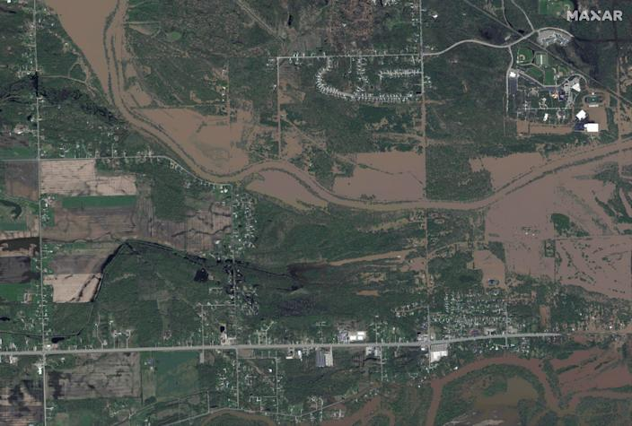 A satellite image shows an overview of the Tittabawassee river after rising floodwaters unleashed by two dam failures submerged parts of Midland, Michigan, U.S. May 20, 2020.