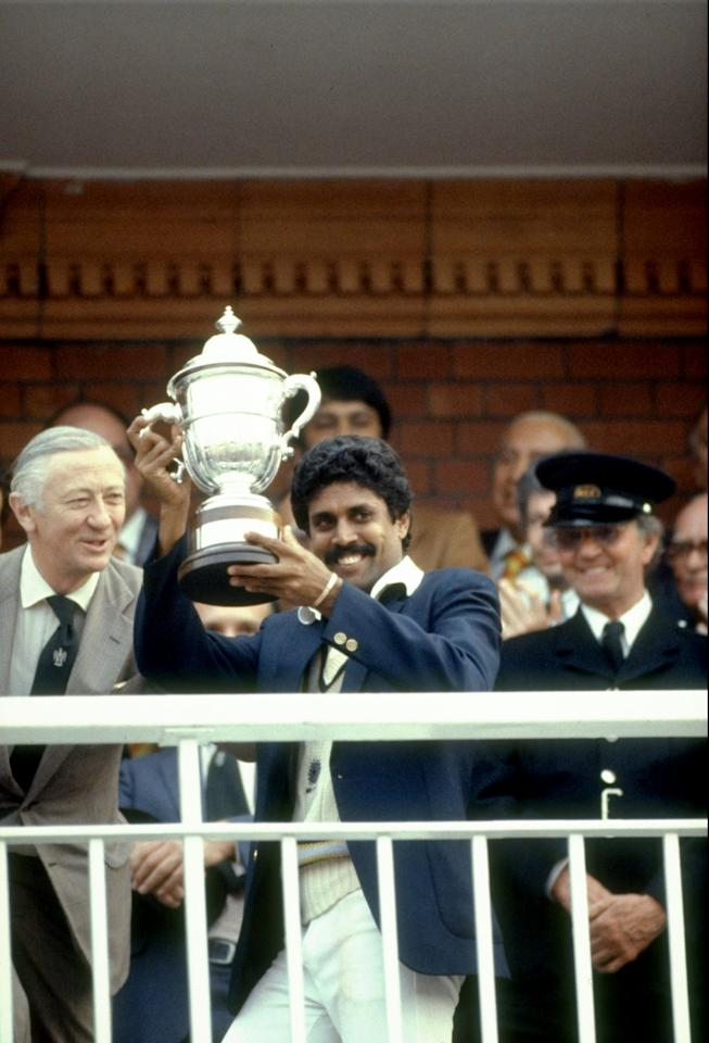 1983: India Captain Kapil Dev holds the trophy aloft after the World Cup match against the West Indies at Lord's in London. India won the match by 43 runs. \ Mandatory Credit: Dave Cannon/Allsport