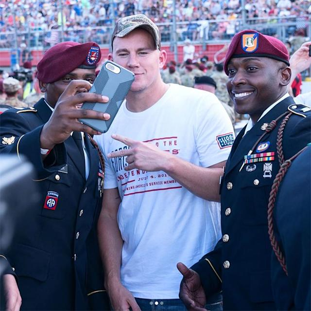 "<p>The actor is out promoting his upcoming movie but couldn't resist a selfie with some servicemen. ""Quick trip to Charlotte yesterday to kick off the #CocaCola600 and debut the trailer for @loganluckymovie. #LoganLucky #memorialday,"" he wrote. (Photo: <a href=""https://www.instagram.com/p/BUsctDIjjor/?hl=en"" rel=""nofollow noopener"" target=""_blank"" data-ylk=""slk:Channing Tatum via Instagram"" class=""link rapid-noclick-resp"">Channing Tatum via Instagram</a>) </p>"