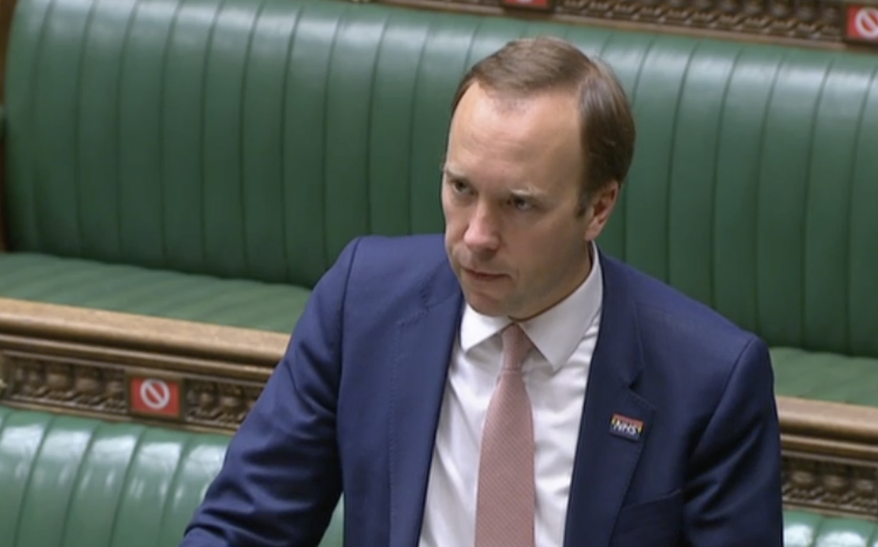 Matt Hancock: 'It's too early now to say yet whether we can take the full step four on 21 June.' (Parliamentlive.tv)
