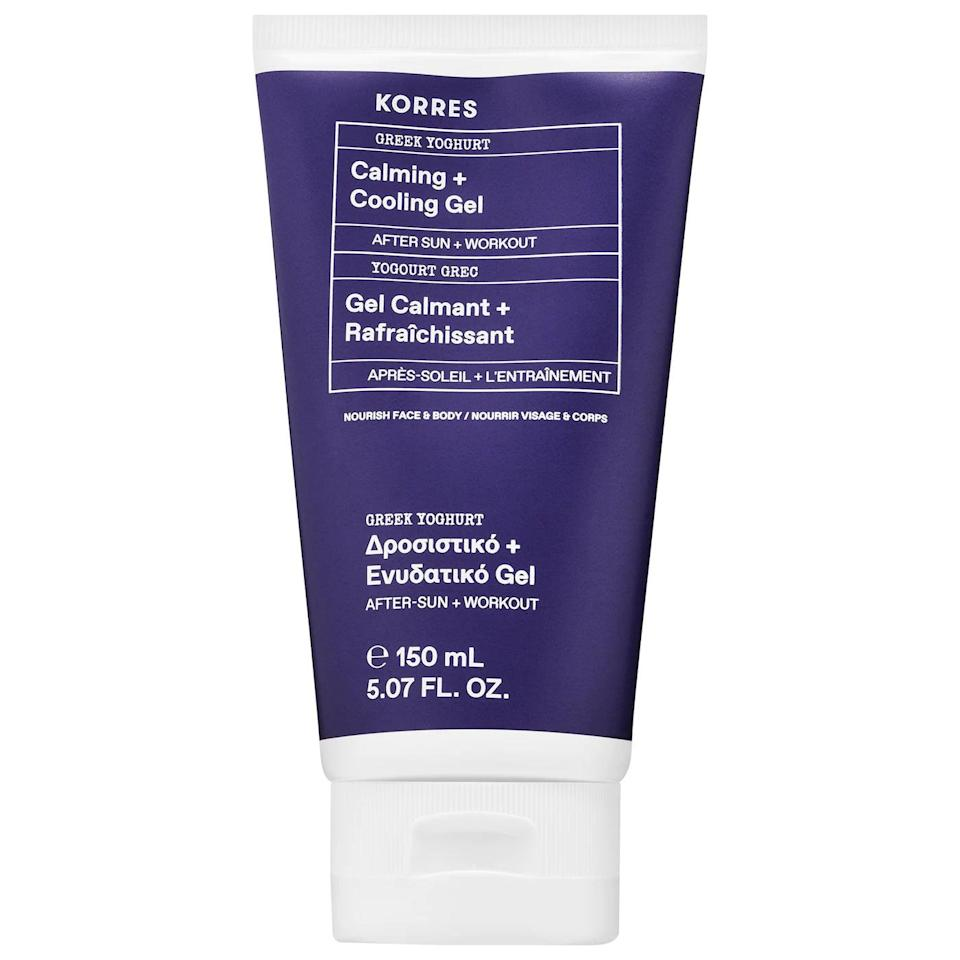 <p>The <span>Korres Greek Yoghurt Calming + Cooling Gel</span> ($26) is great for post workout or beach days to keep skin hydrated, soft, and calm.</p>