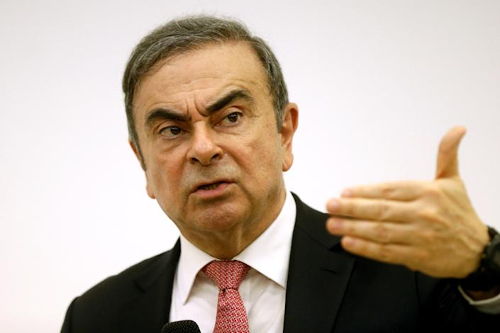 Former Nissan chairman Carlos Ghosn gestures during a news conference at the Lebanese Press Syndicate in Beirut, Lebanon on 8 January. Photo: Mohamed Azakir/Reuters
